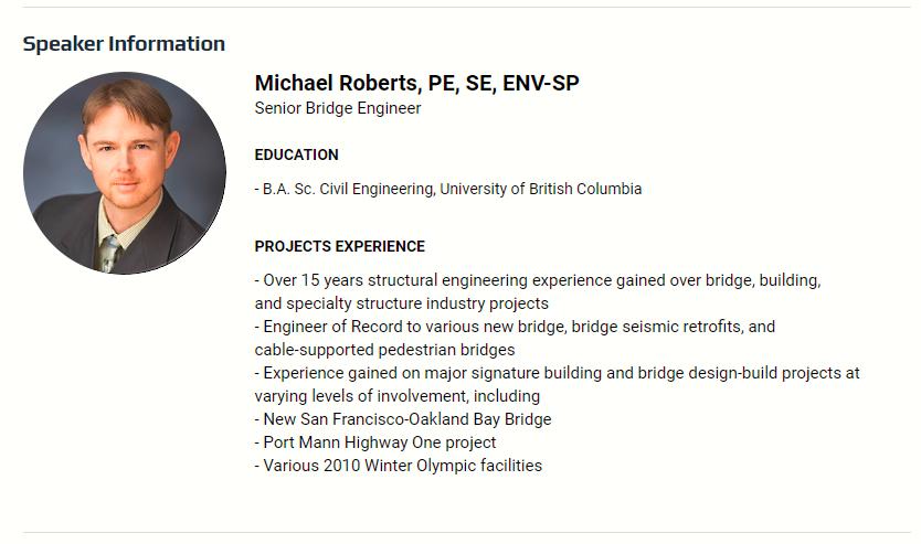 Michael Roberts, Speaker Information