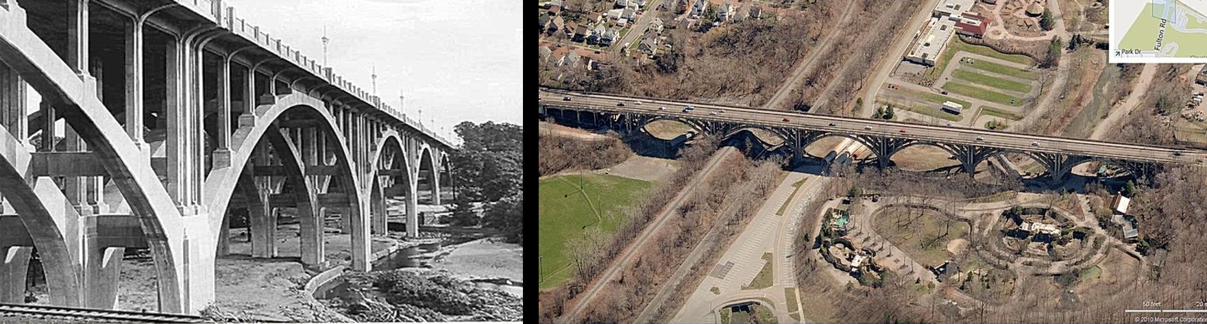 Left: The original Fulton Street Bridge structure (now demolished). Right: Aerial view of the new Fulton Street Bridge.