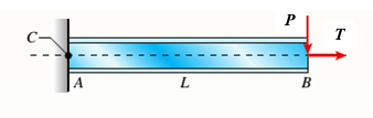 Cantilever beam with axial tension (geometrix nonlinearity))