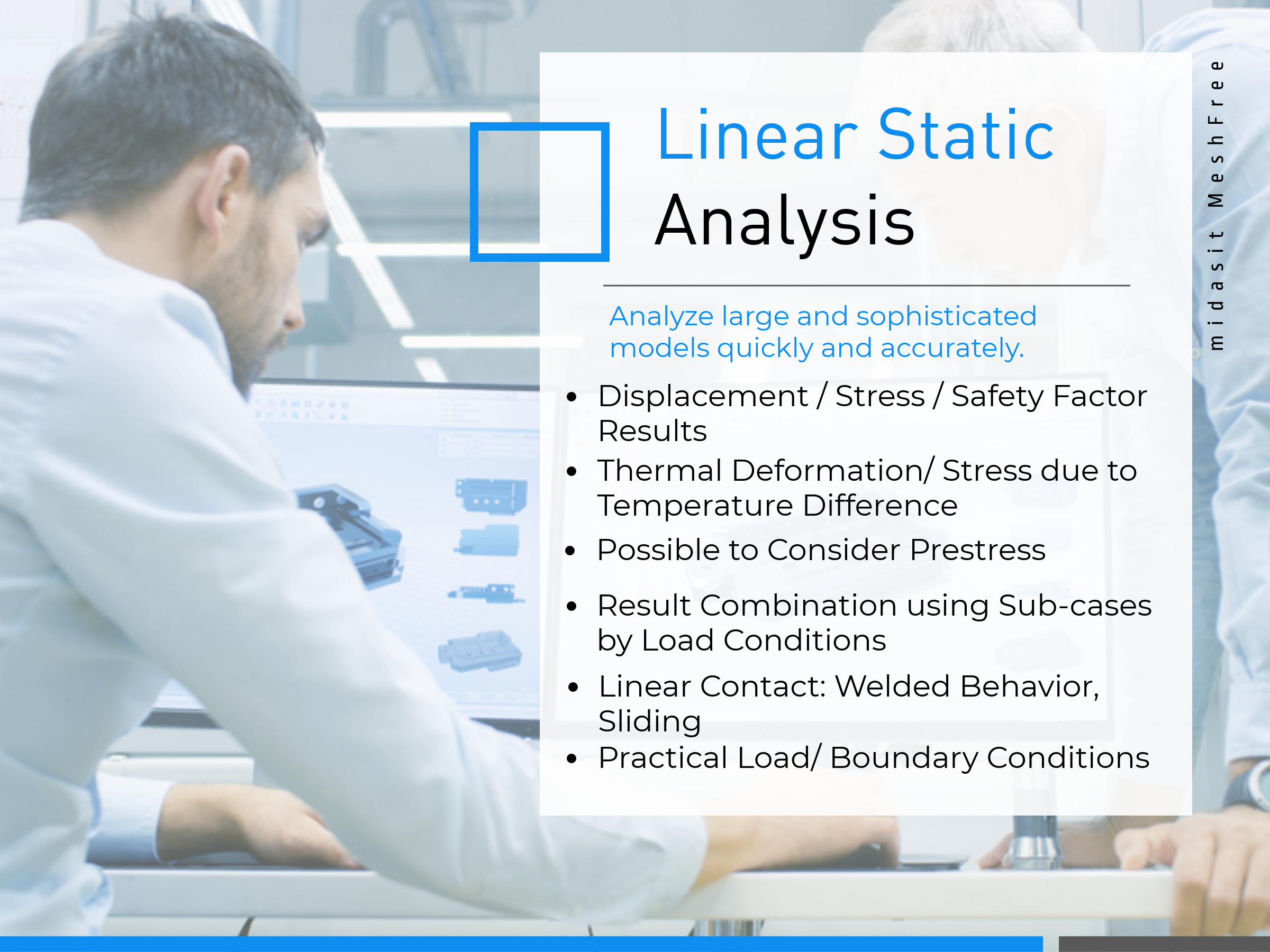 Linear Static Analysis Features on MeshFree (Slide 2)