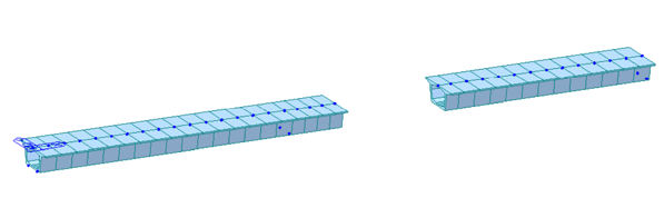 Construction stage analysis model in midas Civil showing segments of prestressed beams that were built in sections.