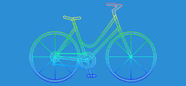 Example of meshless analysis of a bycicle with MeshFree