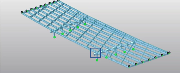 Skewed steel girder bridge with sub beam and variable girder span lengths.