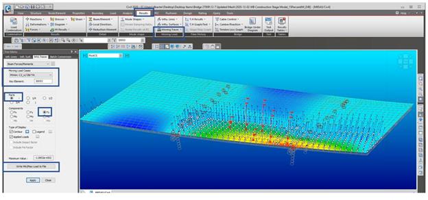 moving load tracer visualization in midas Civil result