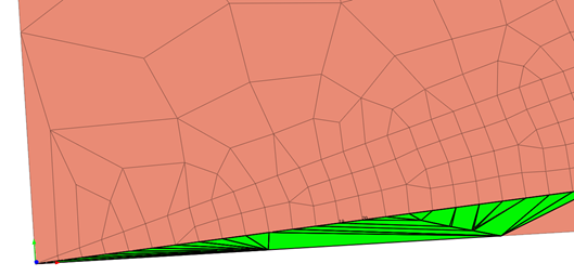 Distorted elements (highlighted in green) due to the transition from coarse to fine elements