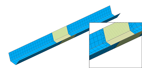 Mesh transition between fine and coarse mesh utilizing edge seeds control on a steel tub girder plate element mesh.
