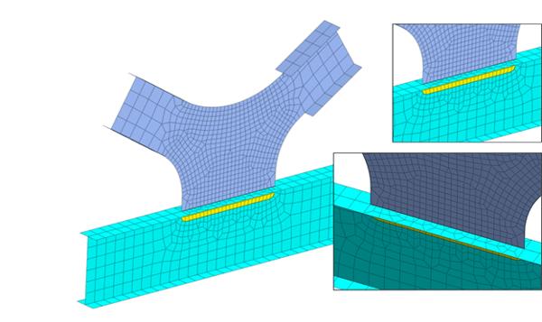 Mesh transition at I girder connection utilizing edge seeds control to ensure merged nodes at mesh sets boundaries.