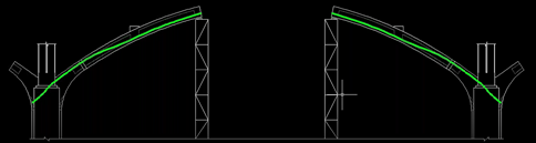 Two 19 strand PT tendons connecting end segments to thrust blocks