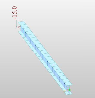 15' frame element with fixed ends and eccentric load