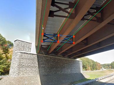 A steel girder bridge with cross frame member connecting the girders. Green line indicates girder elements in midas, blue indicates cross frame members, and yellow indicates links.