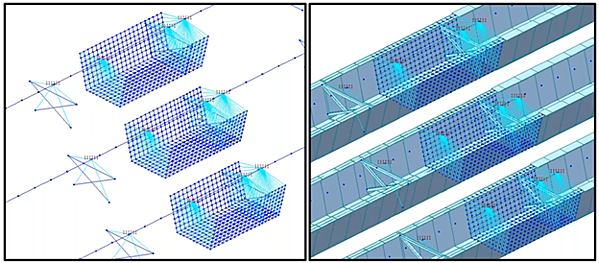 Transition from beam element to plate element to simulate more detailed analysis results in a buckling tub girder bridge model. Shown in light blue is rigid links established between the beam nodes and nodes on the perimeter of the plate elements.
