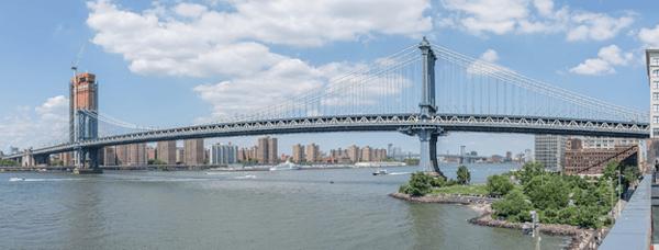 Manhattan bridge from Wikipedia. Geometric nonlinearity. Long suspension bridge.
